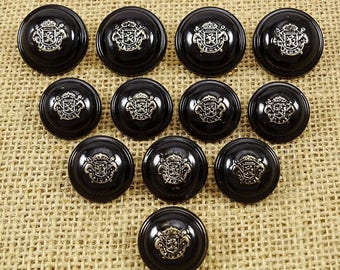 Black Round Buttons, Metal Buttons, Designer Blazer Buttons, Sewing Shank Buttons, Clothing Crafting Accessories, BTN243