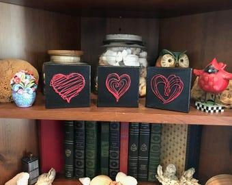 3 Canvas Hearts