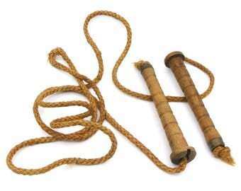 Antique Wooden Toy, Old Jump Rope, Vintage 1920s Skipping Rope, Wooden Handles, American Kids Toys, Handmade Wood Rustic Toys, Childrens Toy