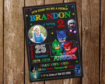 Pj Mask Invitation Pj Mask Birthday Pj Mask Party Mask Invitation Pj Invitation