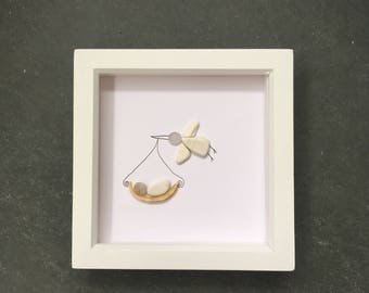 Cornish pebble, sea glass and sea pottery art. Framed picture. New baby gift. Stork delivering baby. Beach art.