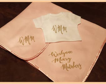 Newborn, Baby Blanket and Matching Onesie Set.  Great Baby Shower Gift. Girl or Boy