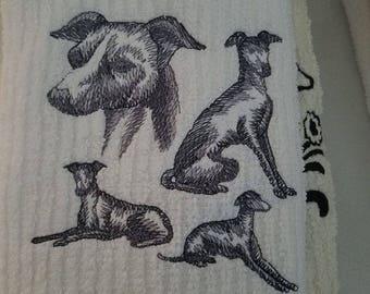 Embroidered Italian Greyhound Bar Mop/Towel
