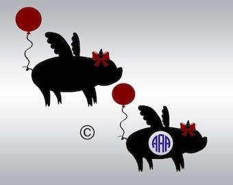 Show pig svg, Flying Pig svg, Farm animal svg, Pig svg, Monogram svg, Pig silhouette, Cricut, Cameo, Cut file, Clipart, Svg, DXF, Png, Eps