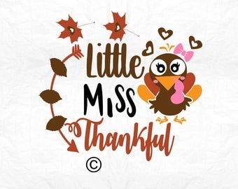little miss thankful turkey SVG Clipart Cut Files Silhouette Cameo Svg for Cricut and Vinyl File cutting Digital cuts file DXF Png Pdf Eps