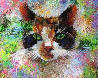 CAT PAINTING Cat Portrait custom Pets Animal art Original Acrylic COLORFUL figurative fine Art Contemporary modern expressionism Rainbow art