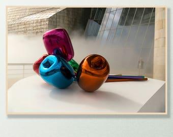 Tulips, Guggenheim, Koons, Jeff Koons, Bilbao, Museum, Spain, Spanish, Art, Steel, Steel Sculpture, Print