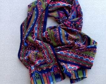 Vintage long silk paisley scarf