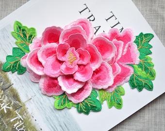 Blossom pink 3D flower patch ,big pink flower embroidered Iron-on patch ,pink flower embroidered patch