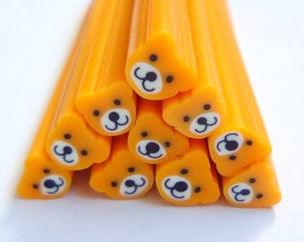 5 orange clips 50x5mm bear fimo canes