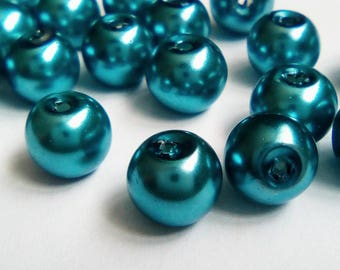 22 blue 8mm opaque Pearl glass beads