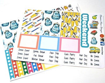 Planner Stickers - Weekly Planner Stickers - Happy Planner Stickers - Day Designer - Functional Stickers - Back to School - School Days