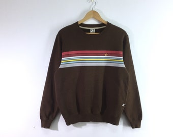 Hang ten sweatshirt pullover jumper sweater embroidery small logo brown colour