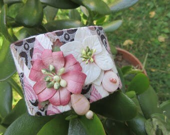 Romantic rose fabric Cuff Bracelet