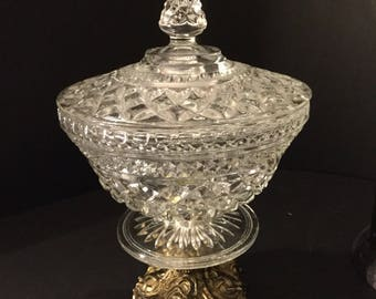 Reduced -Glass candy dish mounted on brass metal ornate base