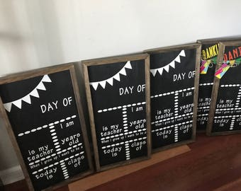 First Day of School Sign, Reusable First Day of School Sign, First and Last Day of School Sign, Back to School Chalkboard, Wooden Chalkboard