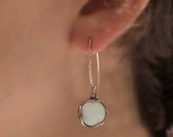 925 Sterling Silver Round White Opal Earrings - Silver Opal Earrings - White Opal Earrings - 925 Sterling Silver Earrings - Gift For Her
