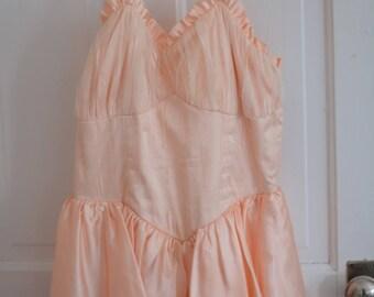 Vintage Candi Jones Peach Prom Dress