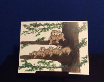 Digital print - Family Picture of six bears Laying on a Tree, Great for Gift get Personalized to your Family with Names and Birthdays!