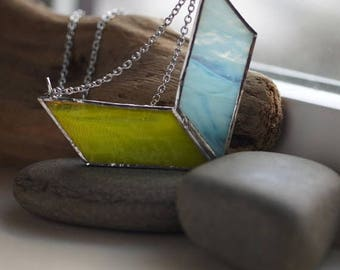 VOLARE SALE Stained Glass Jewelry -  Neon Summer 'Volare' Necklace - Geometric & Modern