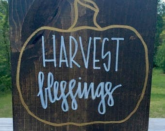 Harvest Blessings, wooden sign, fall decor