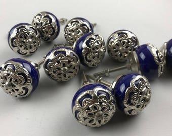 Set 11 Royal Blue and silver metal filigree ceramic knobs -  Ceramic Home decor drawer pull