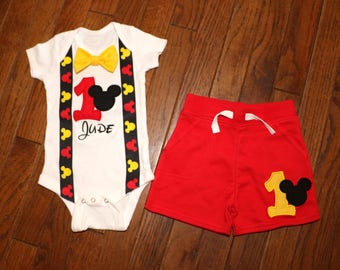 Mickey Mouse Birthday Outfit with Suspenders, Bow Tie and Shorts