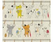 Lecien Kyururu 2018 - Cotton Linen - Japanese Fabric - Animal Fabric - Cat Fabric - Light Weight Canvas