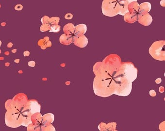 Monaluna Haiku 2 - Cherry Blossom Dawn - Organic Cotton Lawn -  Watercolor Floral Fabric - Pink Floral Lawn Fabric - Lawn Fabric by the Yard