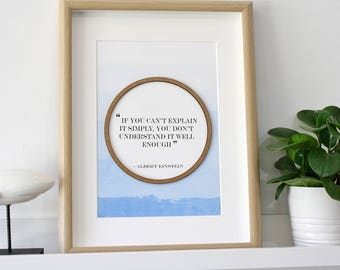 Einstein Quote Print, Laser Cut Wood, Quote Print, Einstein Print, Famous Quotes, Albert Einstein, Quote Sign, Quote Decor, 8x10 or A4