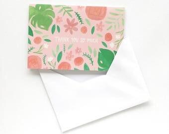 Cute Greeting Card - Thank You Card - A6 Greeting Card - Floral Stationery Card - Cute Floral Stationery - Stationery Greeting Card