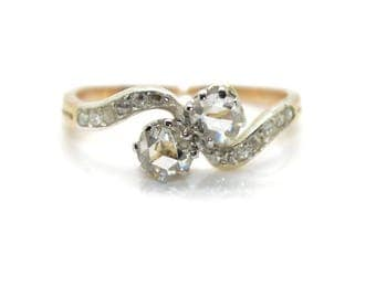 Antique 1900's you and me ring diamonds