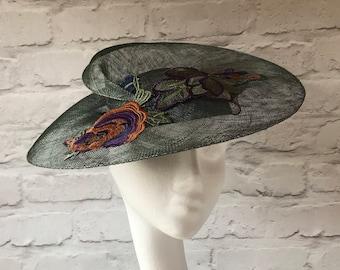 Forest Green Hat, Sculptural Hat, Elegant Green Hat, Freeform Percher, Lace Motif, Dark Green Occasion Hat, Unusual Races Hat, Wedding Hat