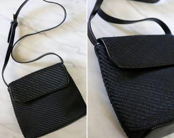 Vintage Liz Claiborne Black Woven Side Bag