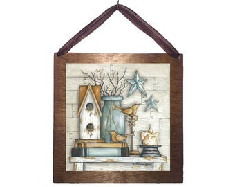 8x8 Birdhouse on Books with Stars and Vase Home Decor Sign with Choice Black Wire or Brown Ribbon for Easy Hanging