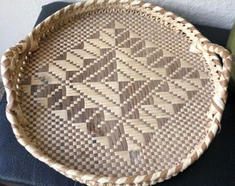 Vintage coil  straw tray