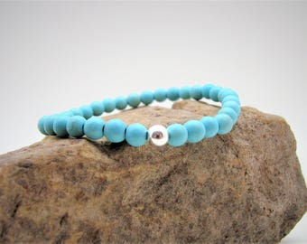 Magnesite Gemstone and Sterling Silver Stretch Bracelet
