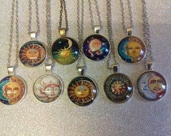Sun & moon necklaces with pemdant/spiritual necklace