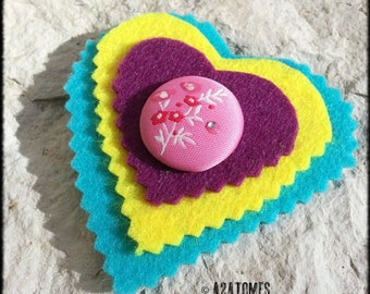 Women felt heart brooch yellow turquoise and purple and decorative button