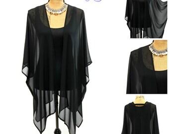 Gorgeous black stretch sheer chiffon kimono jacket, beach cover up, kimono cardigan, boho kimono, elegant sheer wrap, duster