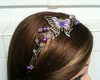 Headband rhinestone Crystal Butterfly beads purple headband purple/headband bridal Purple Butterfly wedding