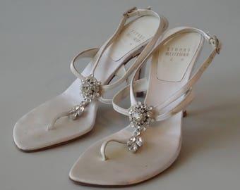 Stuart Weitzman White Rhinestone Sandals Leather Sole
