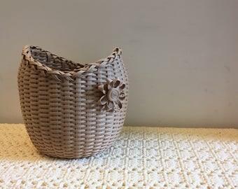 handwoven basket, handmade basket, wicker basket, flower display, storage basket, decorative vase