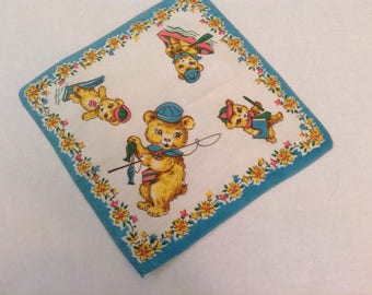 Vintage Handkerchief / Busy Little Bear