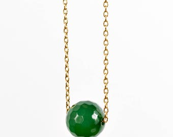 Necklace chain gold plated end and green Onyx