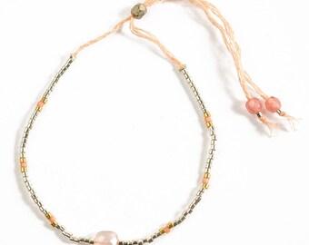 Pink chalcedony and Miyuki bracelet