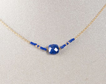 Necklace chain gold plated end and Lapis Lazuli