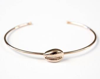 Gold cowrie in gold plated 18 k pink adjustable bracelet