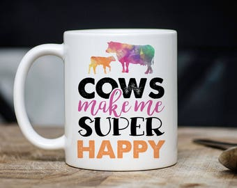 Cows Make Me Super Happy Mug - Funny Cow Coffee Mugs - Cow Mugs - Gift For Farmers - 11oz 15oz Ceramic Cow Lover Christmas Gift - Farmer Mug