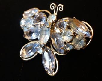 Light Blue Rhinestone Butterfly - Vintage Brooch
